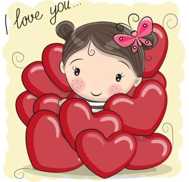 cute-cartoon-girl-in-hearts-vector-16759559